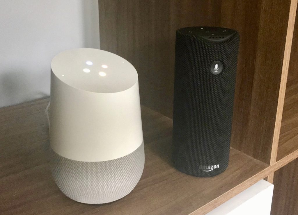 - Google Home and Amazon Tap 1024x740 - Why the market for smart speaker apps can't possibly rival that of smartphones yet – Stacey on IoT
