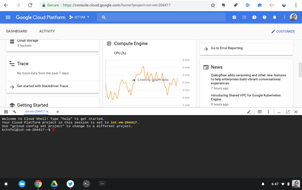 Google Cloud Shell  - Google Cloud Shell 1024x645 - How we moved an IoT code project from a Raspberry Pi to Google Cloud – Stacey on IoT