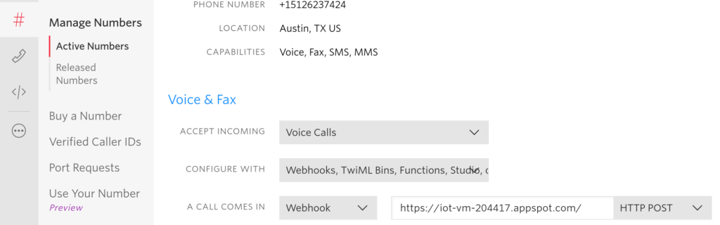 Twilio config for Google Cloud  - Twilio config for Google Cloud 1024x320 - How we moved an IoT code project from a Raspberry Pi to Google Cloud – Stacey on IoT