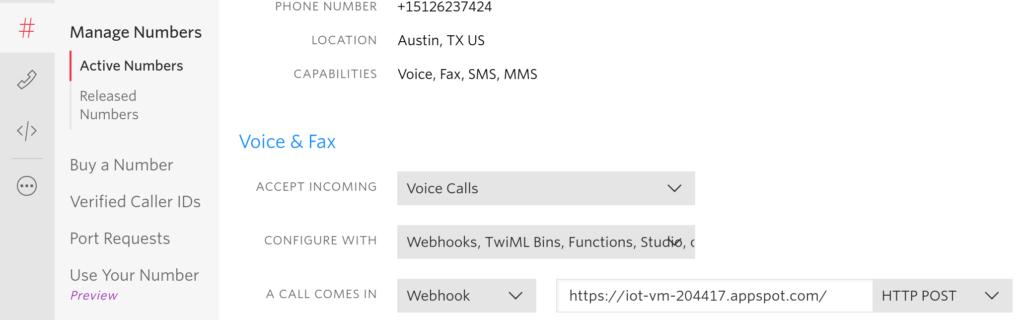Twilio config for Google Cloud